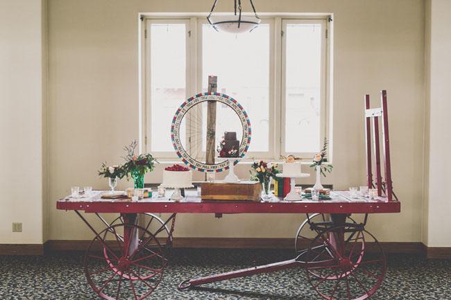 vintage cart dessert table