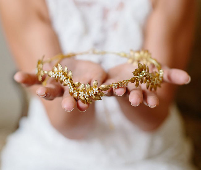 gold floral hair crown