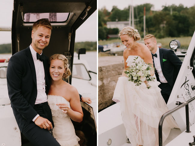 bride and groom boating in