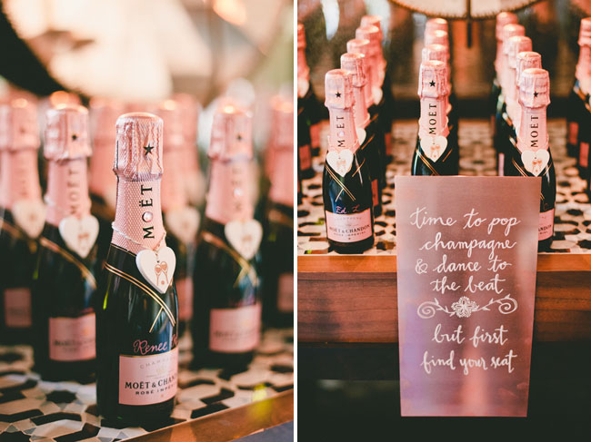 rose gold champagne favors