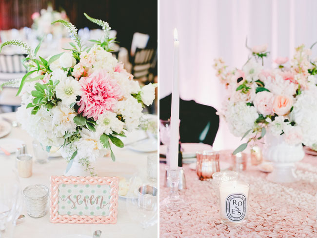 pink floral table numbers