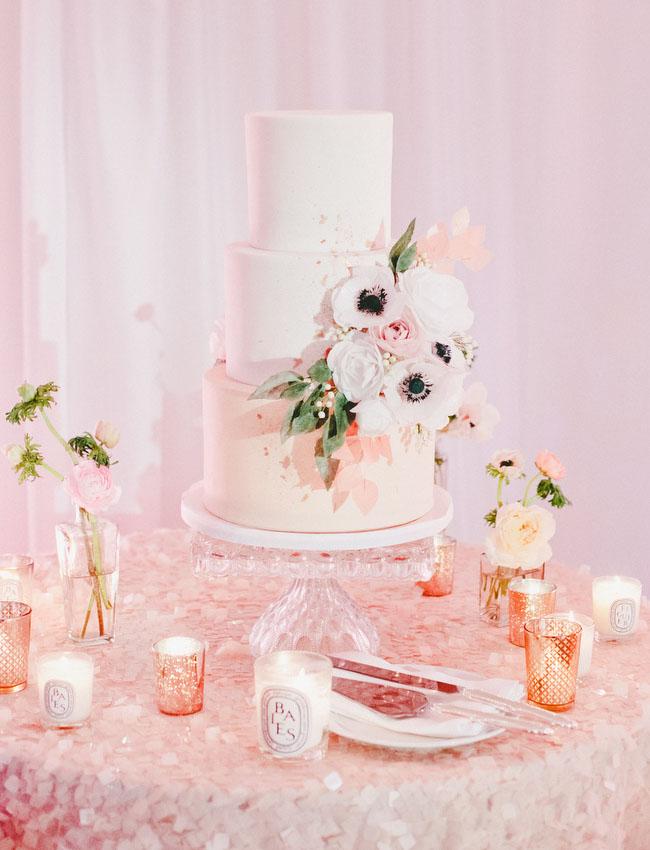 anemone floral wedding cake