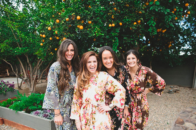 floral robe bridesmaids