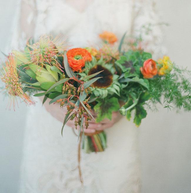 green and orange bouquet
