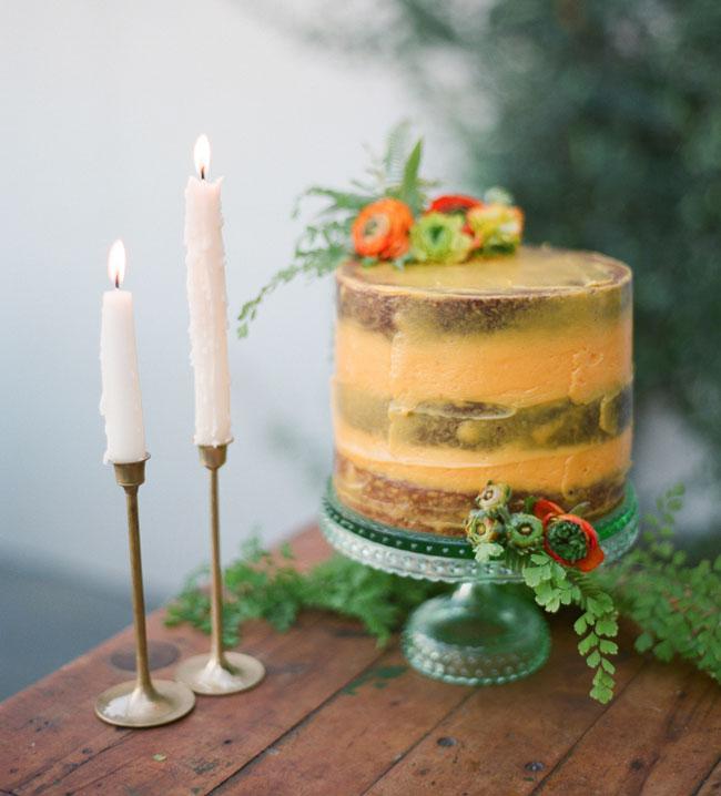 orange naked cake