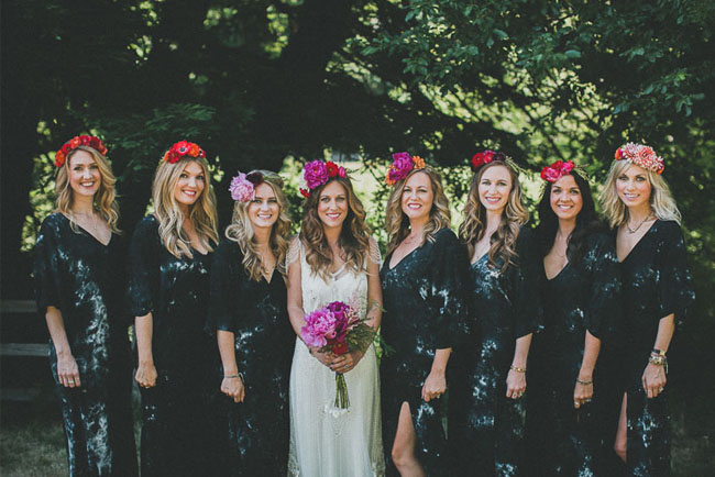 indigo tie dye bridesmaid dresses