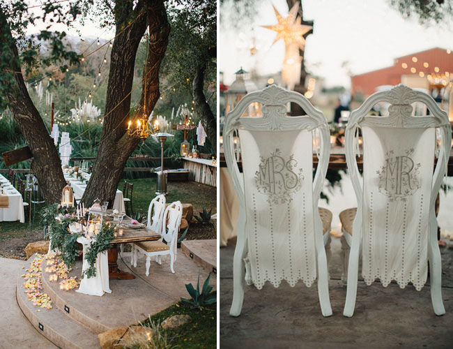 BHLDN bride and groom chair decor