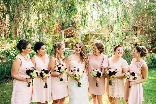 pink dress bridesmaids