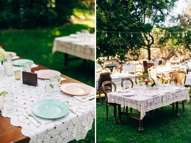vintage plates and lace table runners