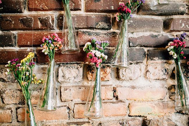 hanging floral bottles