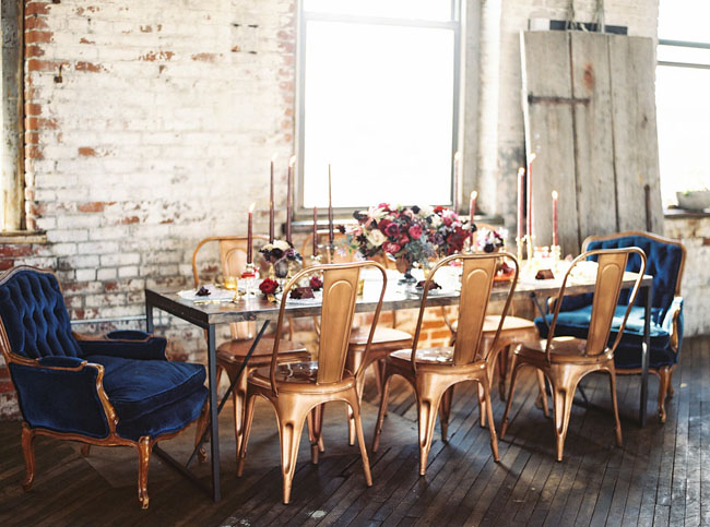 gold industrial chairs