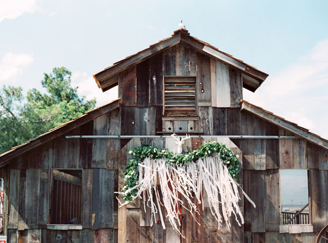 ribbon garland barn backdrop