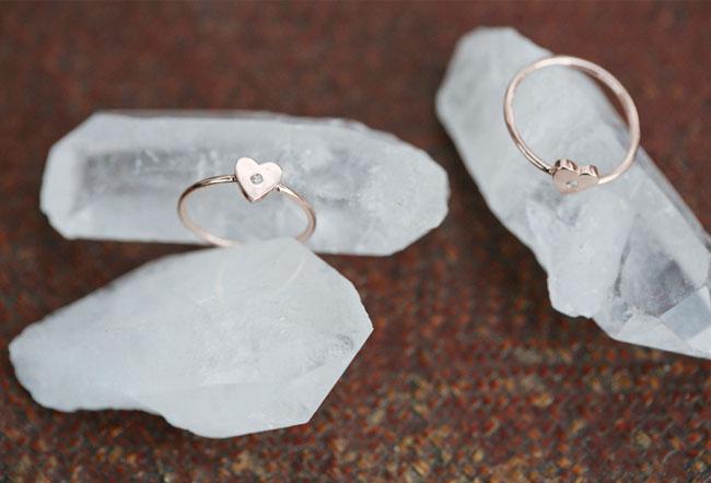 Rose Gold Heart Midi Ring