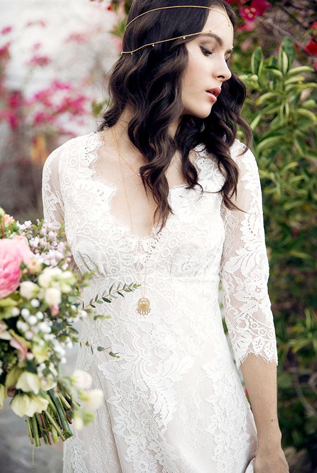 Bride in Claire Pettibone and lace necklace