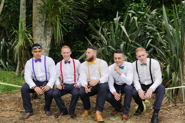 colorful suspender groomsmen