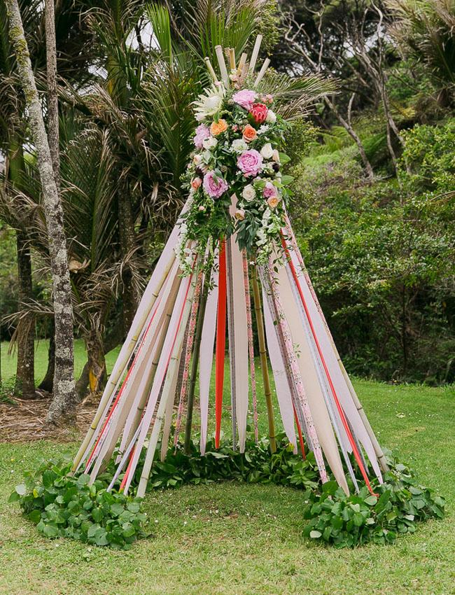 ribbon flower teepee