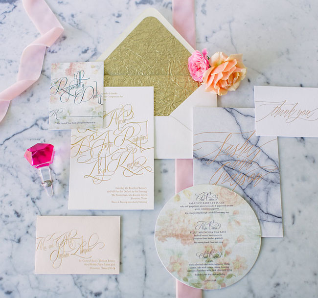girly gold invitation