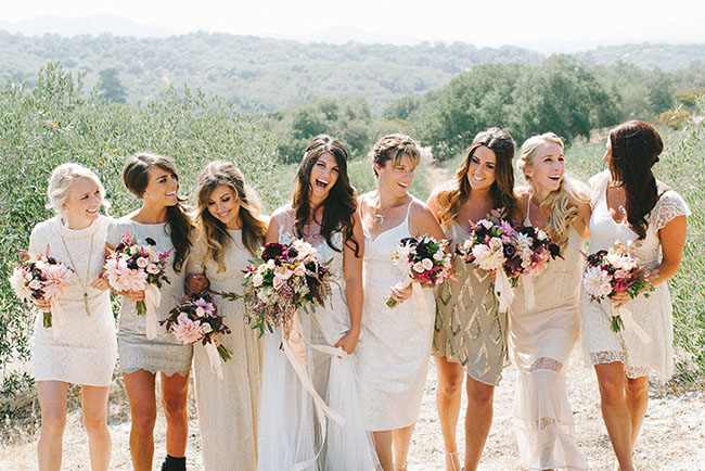 bridesmaids in golds