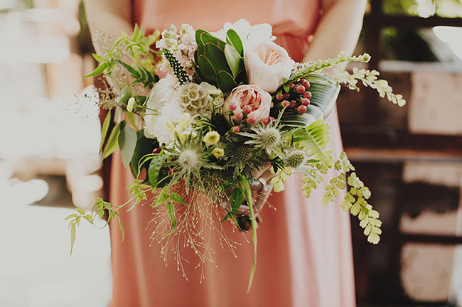 whimsical peach bouquet