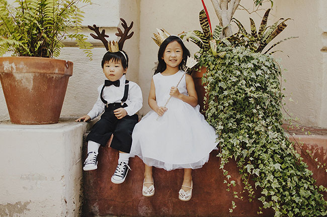 whimsical ring bearer and flower girl