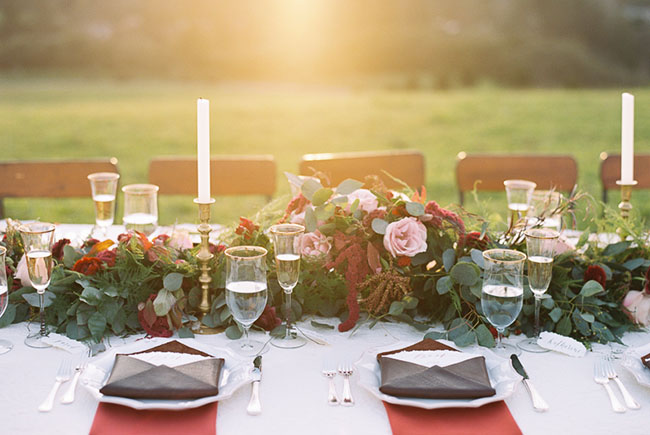 red inspired tablescape