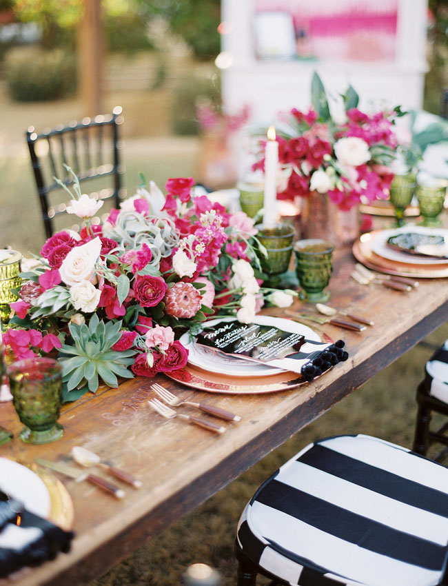 fuchsia and black stripes tablescape