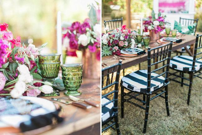 fuchsia and black stripes tablescape