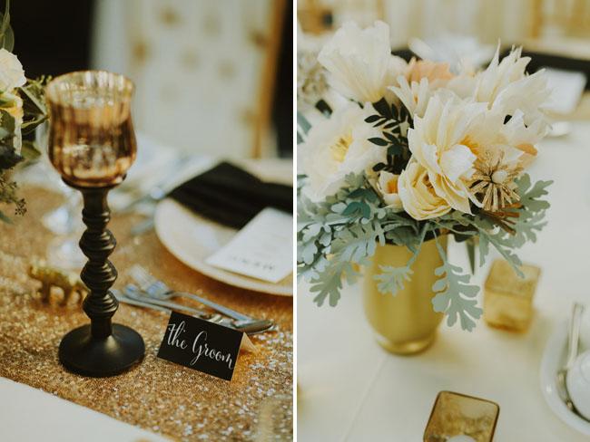 gold tablescape details
