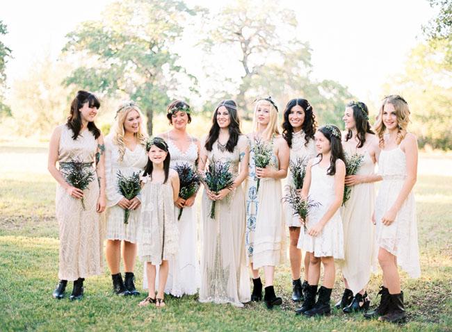 boho texas bridesmaids