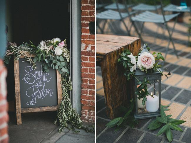 floral chalkboard sign