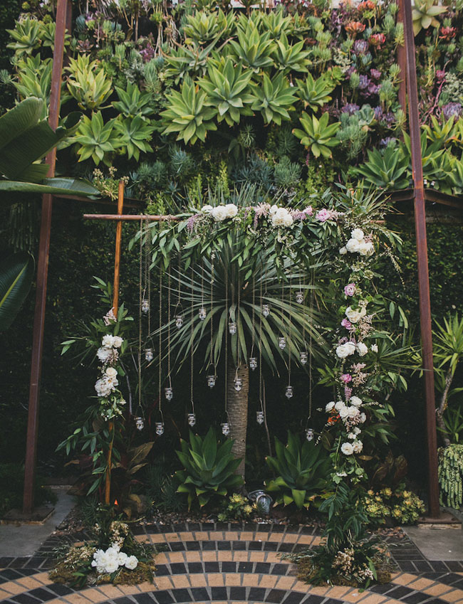 hanging lights floral arbor