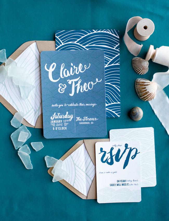 calligraphy ocean invitation