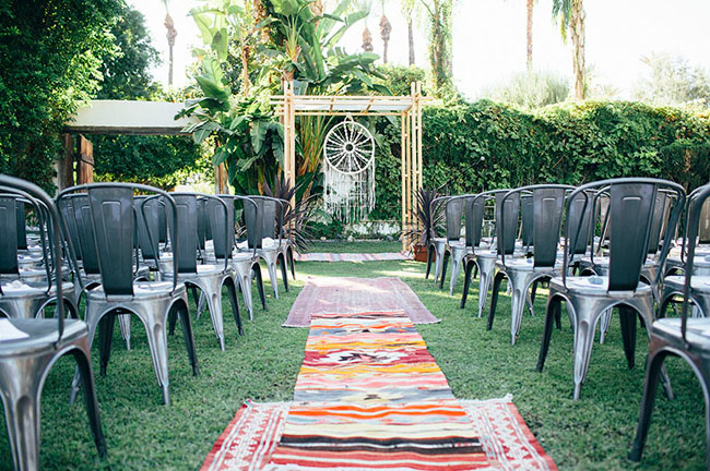 palm springs boho ceremony