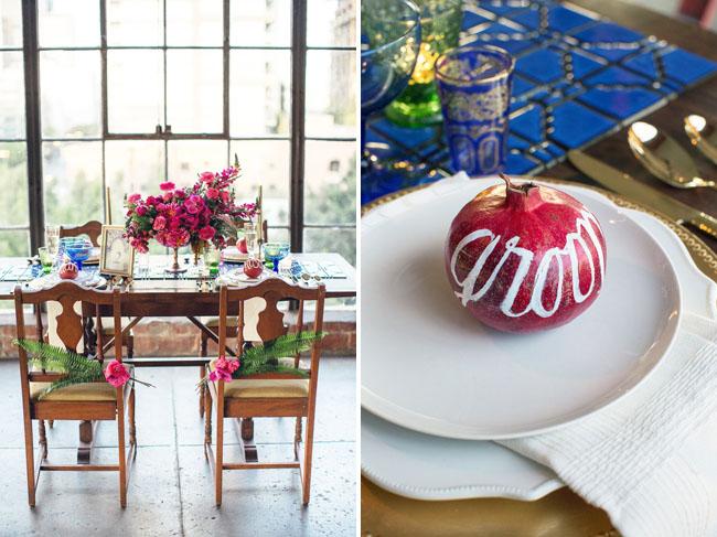 pomegranate plate setting