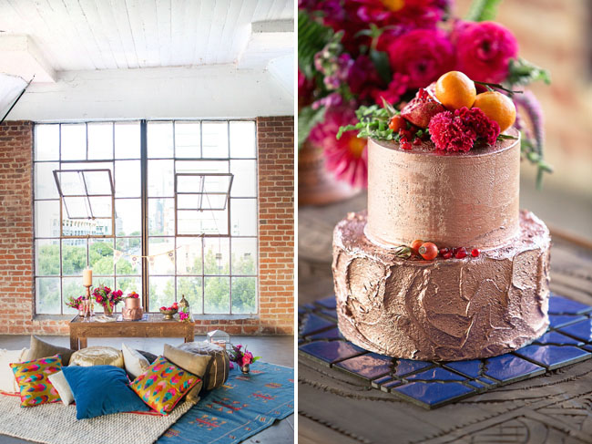 copper painted cake