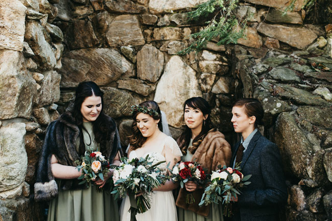 bridesmaids in fur wraps