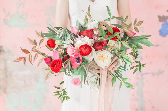 red pastel bouquet