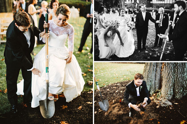 bride and groom digging