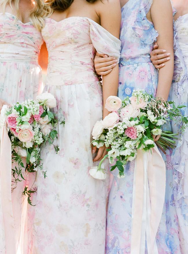 Floral Print bridesmaids dresses