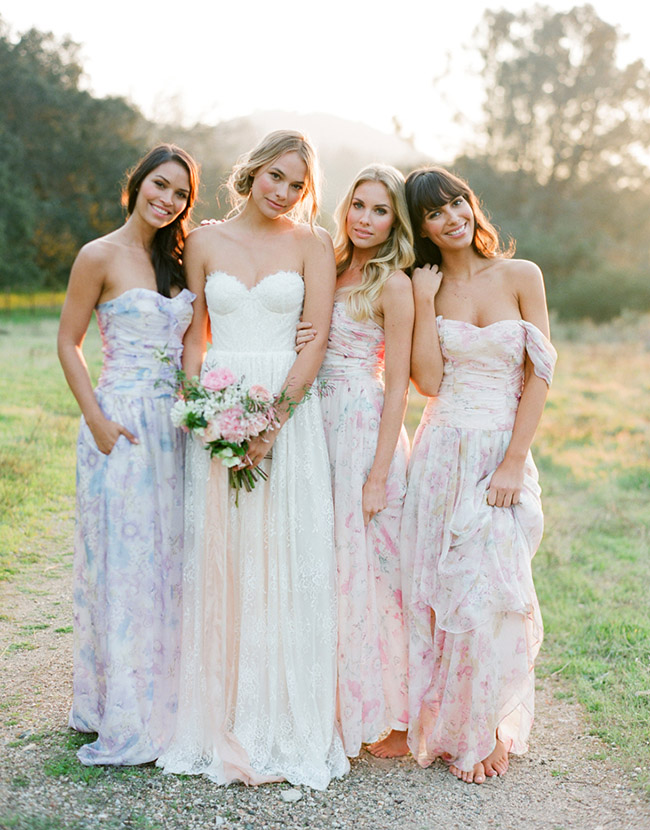 Watercolor Print bridesmaids dresses