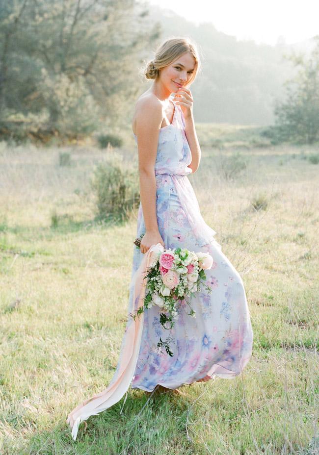 Floral Pastel Print bridesmaids dresses