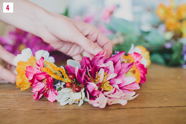 diy silk flower crown with afloral
