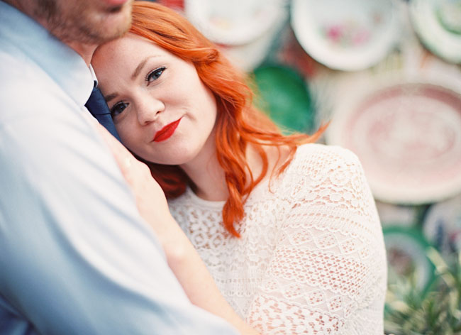 bride with red hair and red lips
