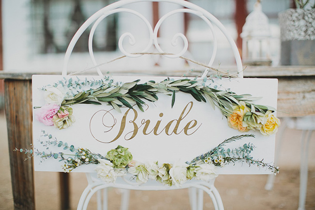 Bride Sign with flowers