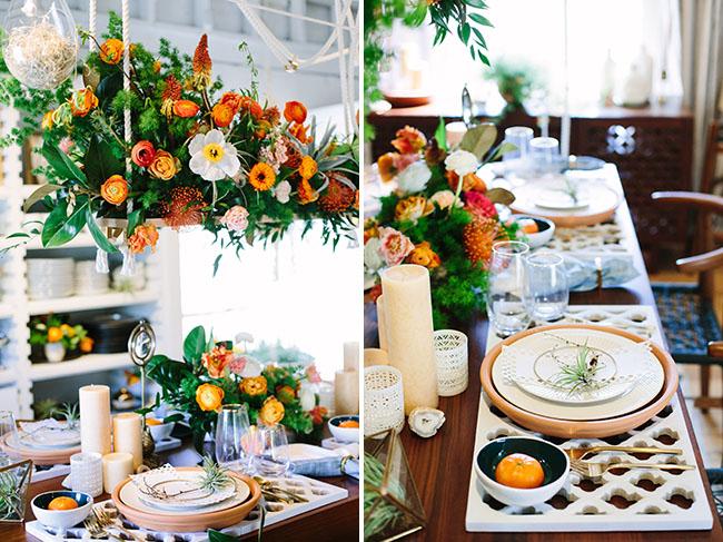 boho orange tablescape
