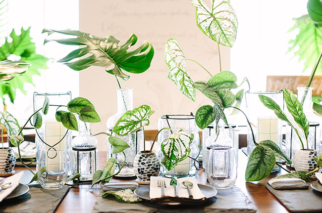 tropical green tablescape
