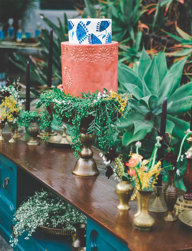 boho blue agave cake