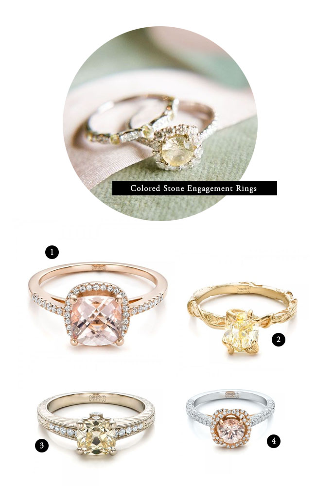stone different diamond gold engagement side rose rings ring