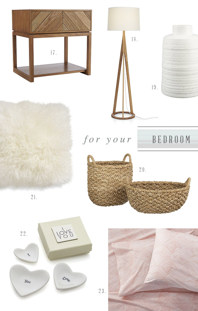 Crate & Barrel Bedroom Registry