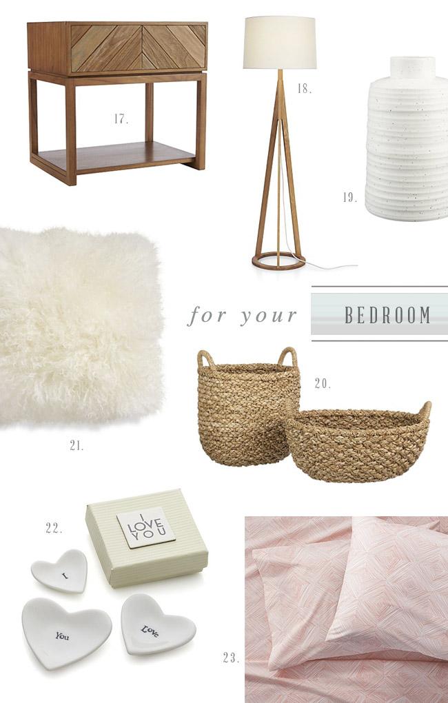 Crate & Barrel Bedroom Registry